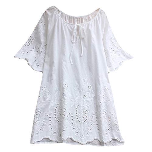 Zegeey Damen Kurzarm Oberteil T-Shirt Rundhals Ausschnitt Baumwolle Und Leinen Cat Drucken Asymmetrischer Saum Lose LäSsige Bluse Hemd Shirt Blusen Locker Basic Tops(A-Weiß,5XL)