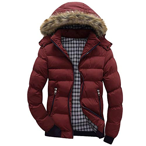 Xmiral Men Daunenjacke Casual Warme Kapuze Winter Patchwork -
