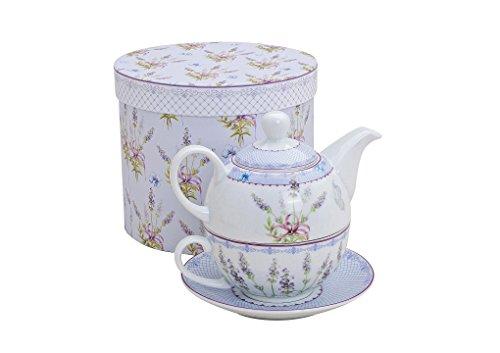 Tee-Set mit Lavendel Motiv für eine Person | Teekanne, Teetasse & Untertasse | Porzellan Teeservice in Geschenkbox | Design Henkel-Tasse, Henkel-Kanne & Unterteller für Teetrinker | Tea for one
