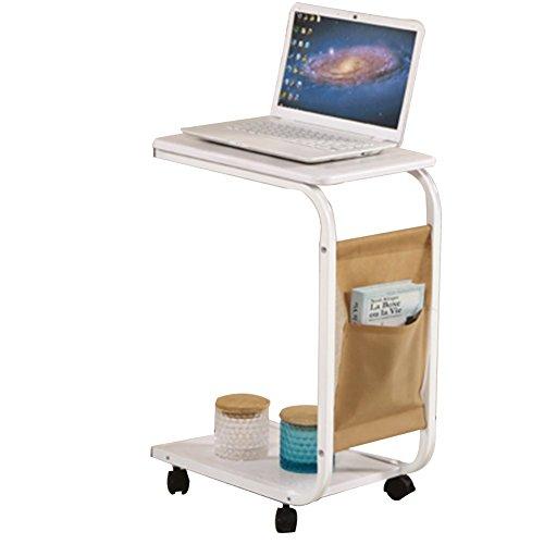 PENGFEI Laptoptisch Betttablett Lapdesks Multifunktion Tragbar Bett Sofa Beistelltisch Bücherregal Regal mit Riemenscheibe, 2 Schichten, 4 Farben, Hohe 65 cm (Farbe : Weiß)