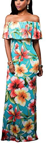 Rosen Langes Kleid (Bestfort Damen Kleid Dress Vintage Rose Sommer Lang Farbig Gedruckt Blumendruck Kragen Kleid T-Kleider)