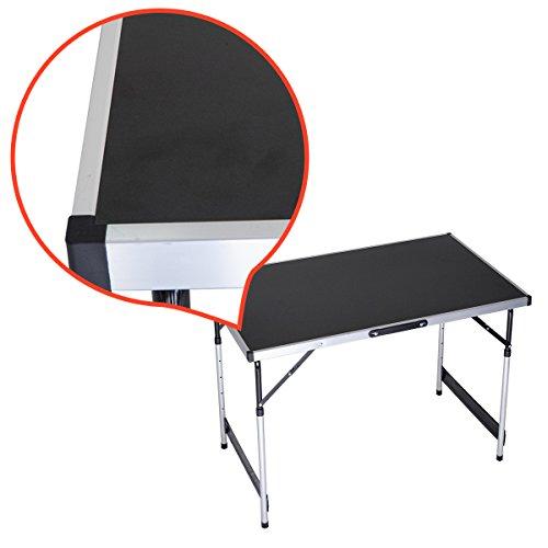 rman Table de Camping Table Pliante Table de Jardin Table Pliable 1 m Tish Multifonction Noir Hauteur réglable 73–94 cm