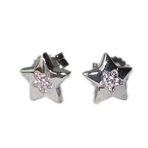 ASS 925Argento Orecchini da donna orecchini a forma di stella con zirconi rosa