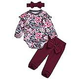 Longra Baby Strampler Set für Mädchen Floral Set Kleidung Baby Strampler aus Baumwolle Kleidung Sets Bogen Hosen Haarband Schöne Jumpsuit Outfit Body (70CM 6 Monate, Wine)