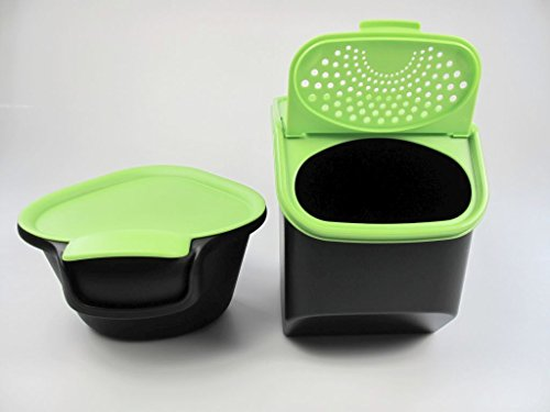 TUPPERWARE Colector 2,5 L + Organizador Modular de 8,3L para patatas negro verde