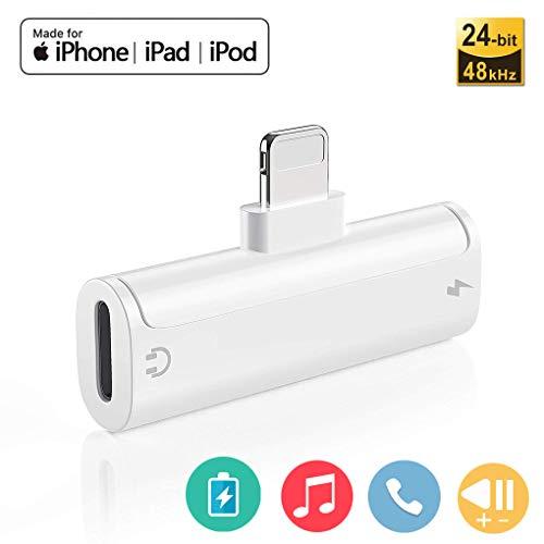Adattatore Cuffieper per iPhone 7 Splitter 4 in 1 Doppio Adapter Splitter Jack per la Cuffia Audio & Charge & Calling & Music Control per iPhone XS/XR 8/8 Plus Cavo e Call Support telefonico iOS 11.2
