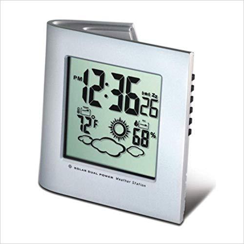 1-1 Despertador Creativo Protección del Medio Ambiente Energía Solar Previsión del Tiempo Reloj electrónico Despertador Calendario perpetuo,Silver