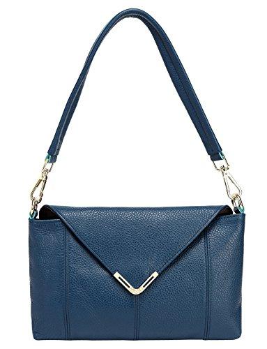 Messenger Borsa a Tracolla Donna Vintage Borse Pelle Spalla Tote Piccolo Clutch Nero Blue