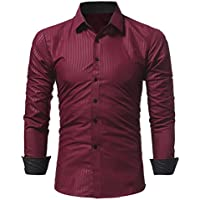 Yvelands Business Shirts Men's Handsome Fashion Noble Camiseta de Manga Larga con Rayas Tees Top Blusa Work Party Daily Summer Autumn Winter, Cheap Clearance!