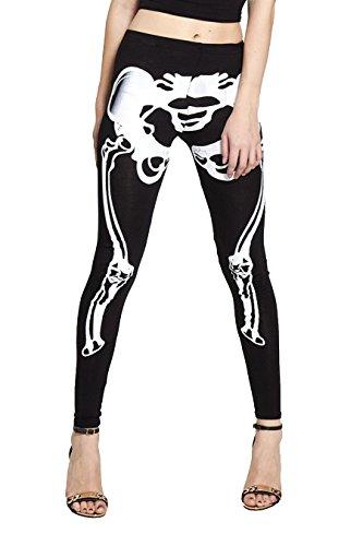Skelett Leggings Karneval Leggings Bones Knochen Leggins Gothic Horror Halloween (M/L, Skelett Bones)