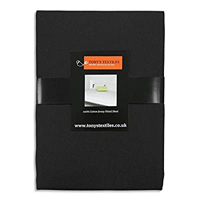 Tony's Textiles Jersey 100% Cotton Fitted Sheet Black - inexpensive UK light shop.