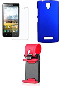 NIROSHA Tempered Glass Screen Guard Cover Mobile Holder for Lenovo A2010 - Combo