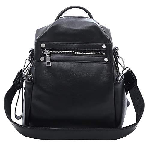 Huacat Damen Einfarbige Leder Schultertasche SchüLer Tasche Reisetasche GroßE KapazitäT Mittelschule Student Rucksack Solid Bag Mittlere - Mittleres Leder Bowling Tasche