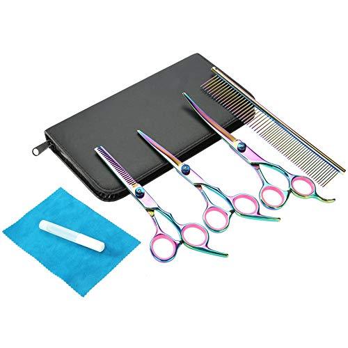 Haustier Schere Kit, 6 stück edelstahl bunte pet werkzeug set, haar schneiden thining gebogene schere pflegen friseurschere