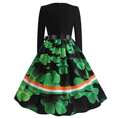 d60a1506f783a3 BaZhaHei Damenkleider Rock Rundhalsausschnitt Langarm Abendkleid Damen  Rundhalsausschnitt Langarmkleid Vintage Print Langarmkleid mit Neck Print