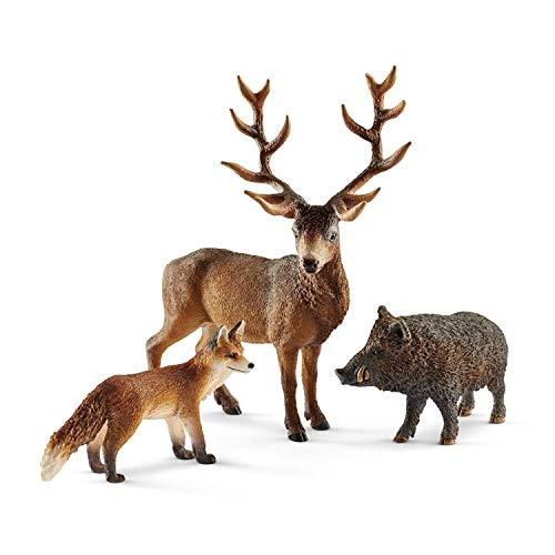 Schleich Wild Life- Set 3 figuras Habitantes del bosque. Jabalí, ciervo rojo y zorro.