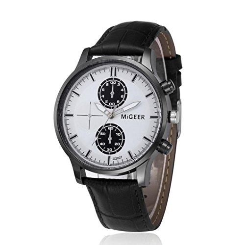 Coolster Herren Business Retro Design Lederband Armbanduhr (G2027-Schwarz)