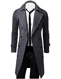 Hiroo Parka Uomo Cappotto Lungo Inverno Trench Coat Doppio Breasted Giacca  Jacket Slim Fit Outwear Elegante 30ed753d9de