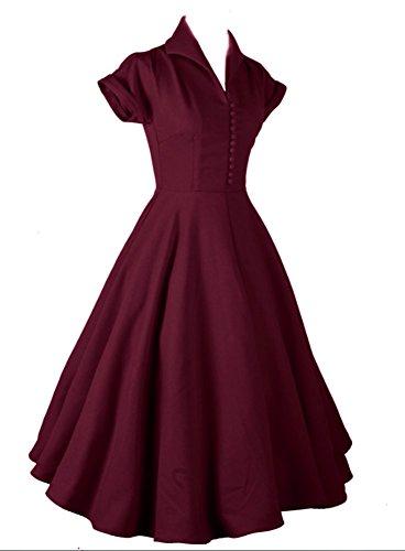 Wealsex Damen V-Ausschnitt Retro 50s Schwingen Vintage Rockabilly kleid Faltenrock Rotwein