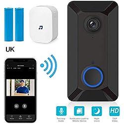 Sonnette vidéo sans fil WiFi, 720P HD Caméra intelligente avec sonnette, carillon, conversation bidirectionnelle, détection de mouvement PIR et vision nocturne, commande à distance pour iOS / Android