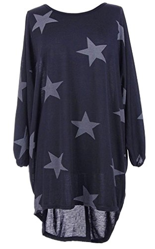 new-italian-womens-ladies-batwing-stars-print-high-low-hem-lagenlook-fine-knitted-baggy-tunic-top-dr