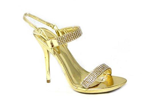 Femme Mariée Mariage/Fête Talon Haut Classique Pompes Cour Chaussures Taille Gold (21392)