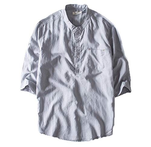 Eaylis Herren T-Shirt KurzäRmliges Hemd Mit Knopfleiste Aus Baumwolle Und Leinen, Einfarbig, Mit FüNf ÄRmeln Und Kragen -