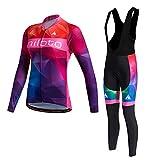 Miloto Sets Langarm Radtrikot mit Culotte für Frauen, Radsportbekleidung Sets mit Meshes, Fahrradbekleidung Anzüge Warm Breathable Thermal Fleece Futter (M)