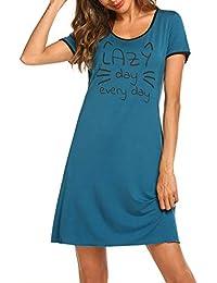 22993a5675 MAXMODA Nachthemd Damen Nachtwäsche Baumwolle Sleepshirt Kurzarm Sexy  Schlafshirt Nachtkleid S-XXL