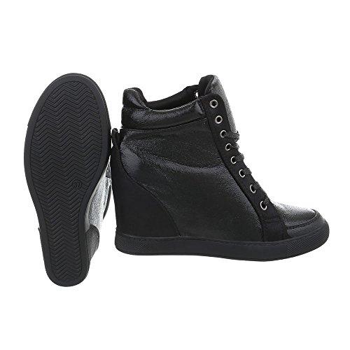 Sneakers Ital-design Alte Scarpe Da Donna Sneakers Alte Zeppa / Zeppa Zeppa Scarpe Con Tacco Con Cerniera Scarpe Casual Nero Ll-72