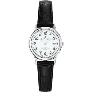 Certus - 644391 - Montre Femme - Quartz Analogique - Cadran Blanc - Bracelet Cuir Noir