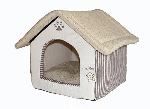 Hundehütte Hundehaus Stoff für drinnen Wohnung indoor Katzenhaus Hundekörbchen Kuschelhöhle Katzenhöhle beige braun aus hochwertiger Baumwolle mit Wendekissen