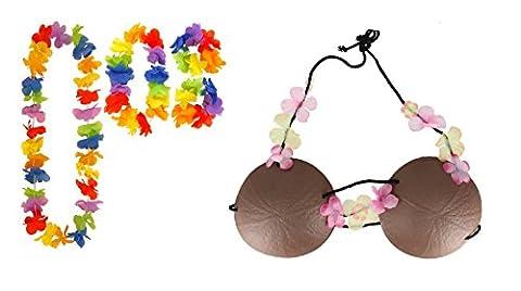 Hawaiian Coconut Hula Bra & 4 Piece Tropical Lei Beach Fancy Dress Set