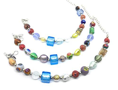 Murano Glas Perlen Armband-Schöne Mehrfarbig Murano Glas Perlen auf einer versilbert Armband-inkl. Geschenkbox und Echtheitszertifikat