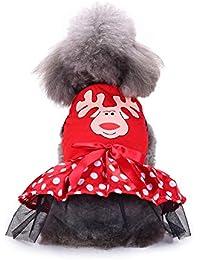 Navidad Ropa para Mascotas Hermosa Mascota Cachorro pequeño Perro Bowknot Vestido de sin Manga Traje de Ropa Estampado de Alces y caña Gusspower