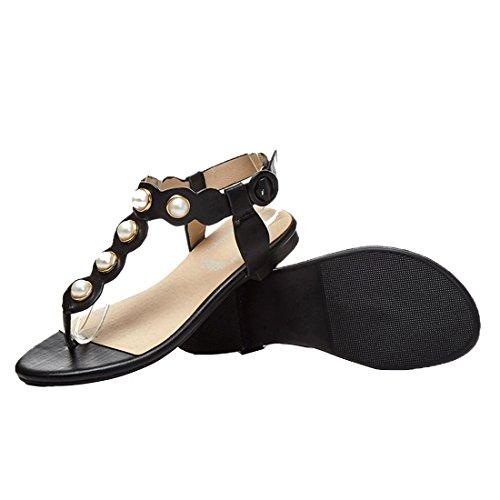 ... YE Damen Flach Sommer Knöchelriemchen Sandalen mit Perlen Bequem Schuhe  Schwarz ...