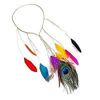 Bomcomi Weave Corn Peacock Feather Women Necklace Headband Headpiece Girls Vintage Boho Hair Fascinator Headpiece