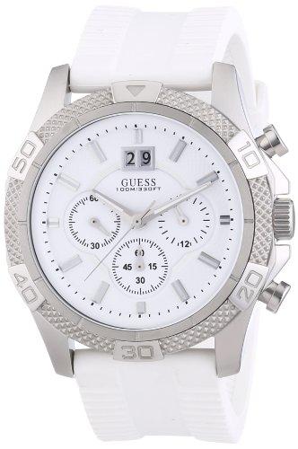 Guess W17545G1 - Reloj cronógrafo de cuarzo para hombre con correa de silicona, color blanco