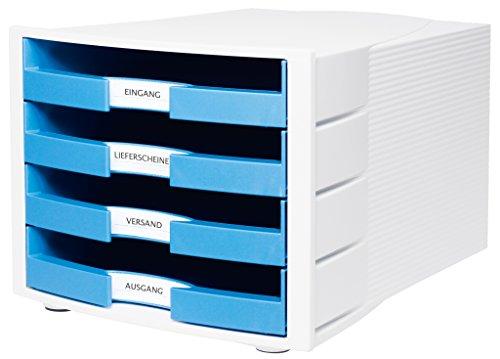 HAN 1011-X-54, Schubladenbox IMPULS, Neu! Innovatives, attraktives Design in höchster Qualität. Mit großem Beschriftungsfeld und 4 offenen Schubladen, Trend Colour hellblau