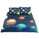 ISAOA Bettwäsche-Set mit Solarsystem, Kristall, Samt, 167,64 x 228,6 cm, modischer Stil, Steppdeckenbezug für Kinder, 3 Stück