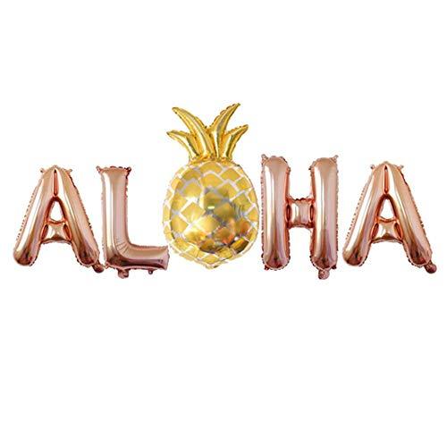 TOOGOO Pi?a Globo Globos De Hojuela Suministros Decoraciones De Fiesta Hawaiana 16 Pulgadas Oro Rosa, Oro