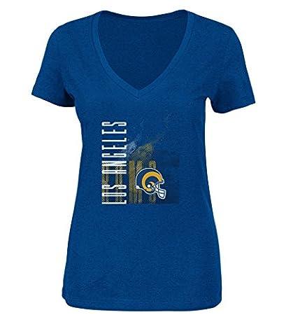 VF VSG Erwachsene Frauen NFL Vintage Short Sleeve V-Neck Tee, NFL Vintage Womens Tee, Stadium Blue (Tampa Bay Buccaneers Tampa Stadium)
