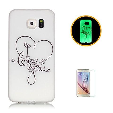 CaseHome Samsung Galaxy S7 Edge Luminous Hülle (Mit Frie Displayschutzfolie) Leuchtende Silikone Rückhülle Für iPhone 6 6s Plus 5.5 Zoll Zoll Silikon Etui Handy Hülle Weiche Transparente Luminous TPU Back Case Tasche Schale Leuchten In Der Nacht Für Samsung Galaxy S7 Edge-Ich liebe dich