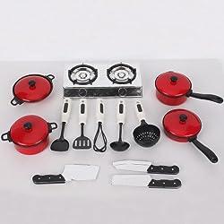 TOOGOO(R) Juego de 13 Utensilios de Cocina Ollas y Sartenes para Ninos Juguetes, Utensilios de Cocina de Simulacion