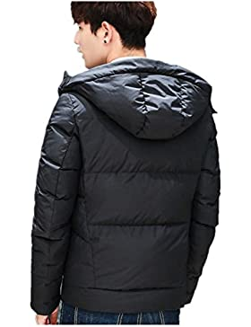 Invierno de los hombres chaqueta con capucha abrigo acolchado libre , black , xxxl
