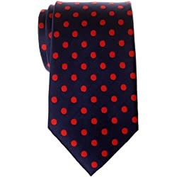 Retreez - Corbata de microfibra para hombre, diseño de lunares (varios colores) rojo Navy Blue with Red Dots Talla única