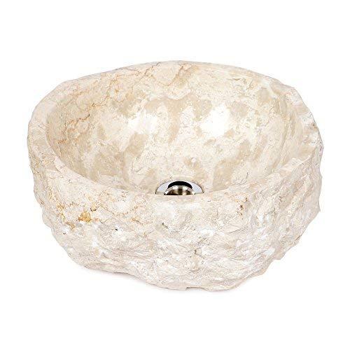 wohnfreuden Naturstein Marmor - Waschbecken ca 35 cm rund gehämmert