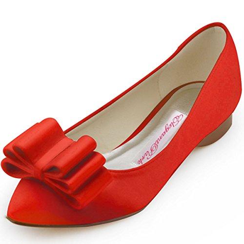 Elegantpark FC1406 Satin bout pointu arc plat Chaussures de Mariée Rouge