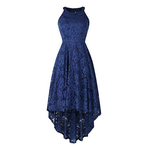 MAYOGO Vintage Elegant Kleid aus Spitze Damen Unregelmässig Vokuhila Kleid Vorne Kurz Hinten Lang,Kleid zur Hochzeit Gast/Brautjungfer,Langarm   Kurzarm   Ohne ärmel (Der Rock Bambi Kostüm)