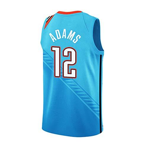 DEBND NBA Thunder 12 Adams Jersey Basketball-Anzug Basketballtrikot für Herren Männer Fans Unisex Basketballtraining Sportbekleidung -